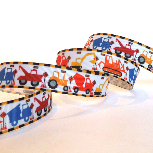 22 mm Kid's Tractor Grosgrain Ribbon, 7/8 inch Bright Construction and Track Grosgrain Tape - Fabric and Ribbon