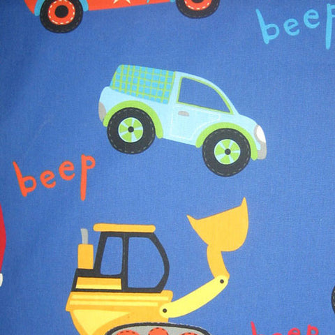 Blue Traffic Jam Cotton Furnishing Fabric by Prestigious Textiles, Little Adventure Collection