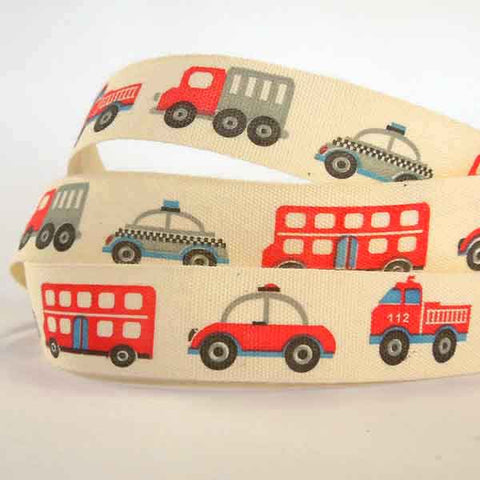 15 mm Kid's Cars and Trucks Cotton Ribbon, 5/8 inch Baby Red and Black Fire Engine and Police Car Natural Cotton Tape
