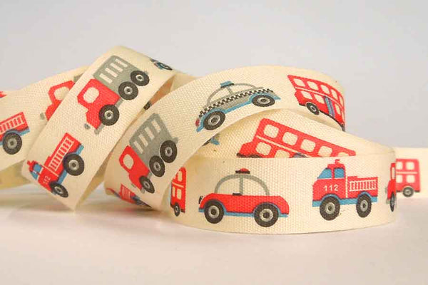 15 mm Kid's Ribbon, 5/8 inch Baby Red and Black Fire Engine and Police Car Natural Cotton Tape - Fabric and Ribbon
