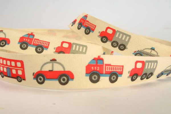 15 mm Kid's Ribbon, 5/8 inch Baby Red and Black Fire Engine and Police Car Natural Cotton Tape