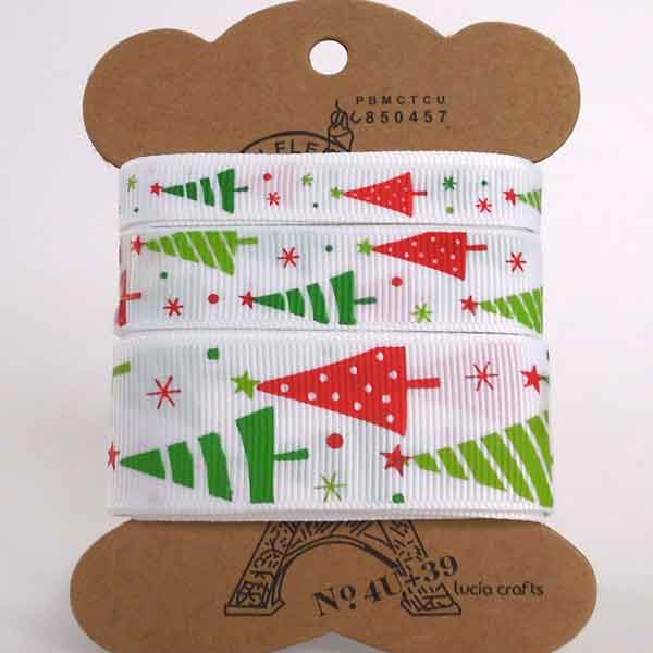 Red and Green Christmas Tree Grosgrain Ribbon, 10 mm, 16 mm, 25 mm