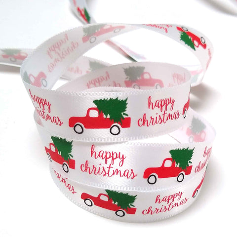 15 mm Happy Christmas Red Truck and Tree Satin Ribbon