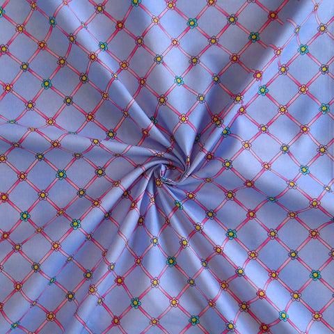 Lilac Flower Cotton Fabric by Timeless Treasures 2091/L, At The Ballet Collection, Lilac Flower Trellis Fabric