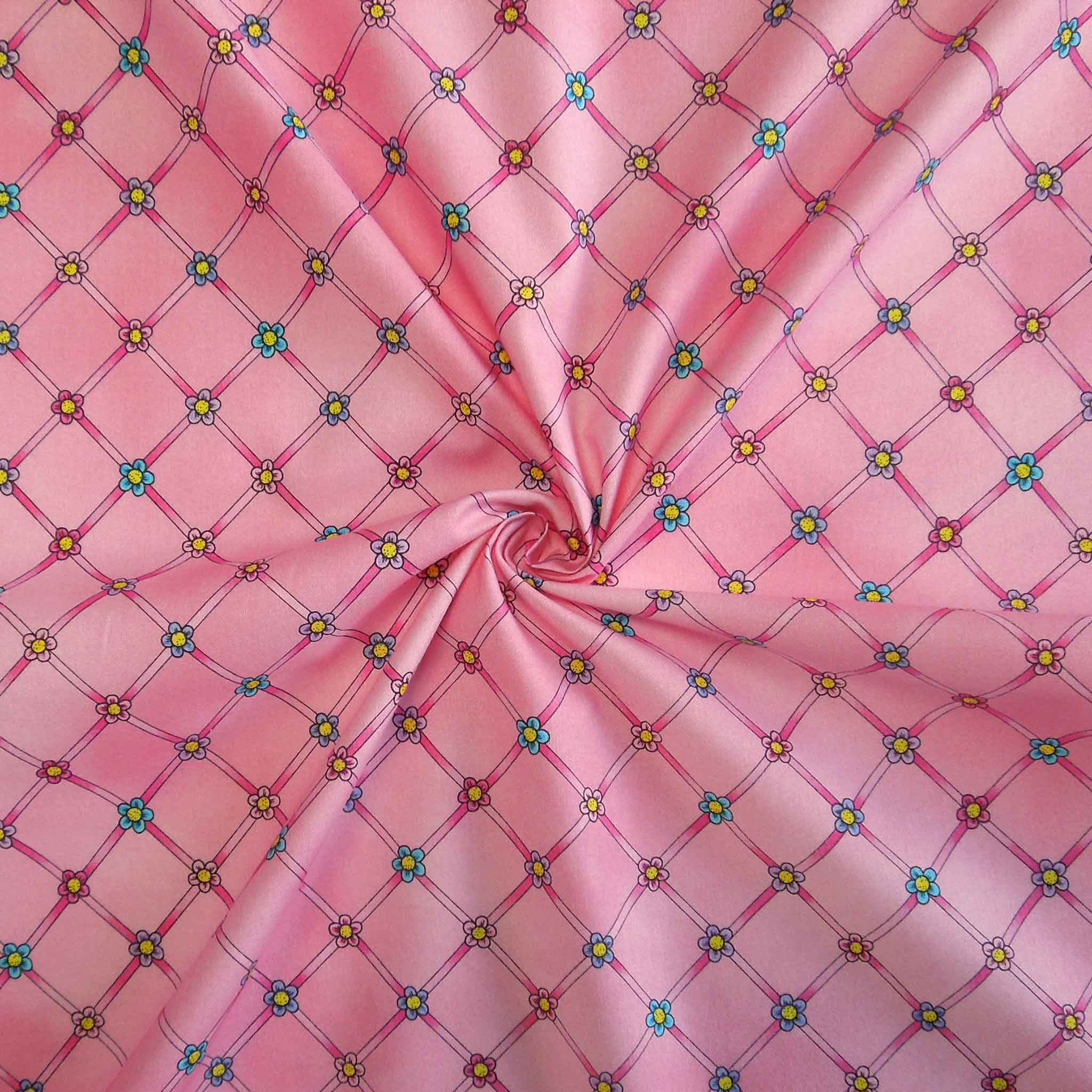 Pink Flower Cotton Fabric by Timeless Treasures 2091/P, At The Ballet Collection, Pink Flower Trellis Fabric - Fabric and Ribbon