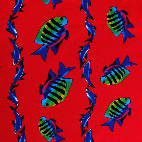 Red Fish and Dolphin Cotton Fabric, Kid's Red Dolphins and Tropical Fish Fabric