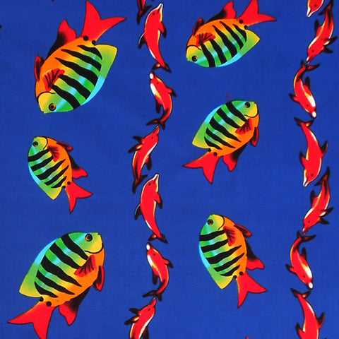 Blue Fish and Dolphin Cotton Fabric, Kid's Blue Dolphin and Tropical Fish Cotton Fabric - Fabric and Ribbon