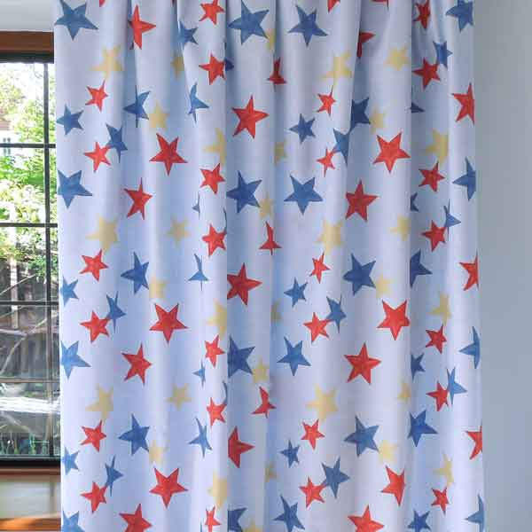 Blue Star Cotton Furnishing Fabric, Twinkle by Clarke and Clarke (formerly Globaltex), part of the All At Sea Collection