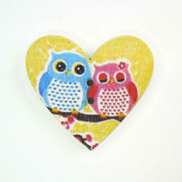 Pink and Blue Owl Heart Shaped Wood Buttons, 2 Holes, Pack of 3 Buttons