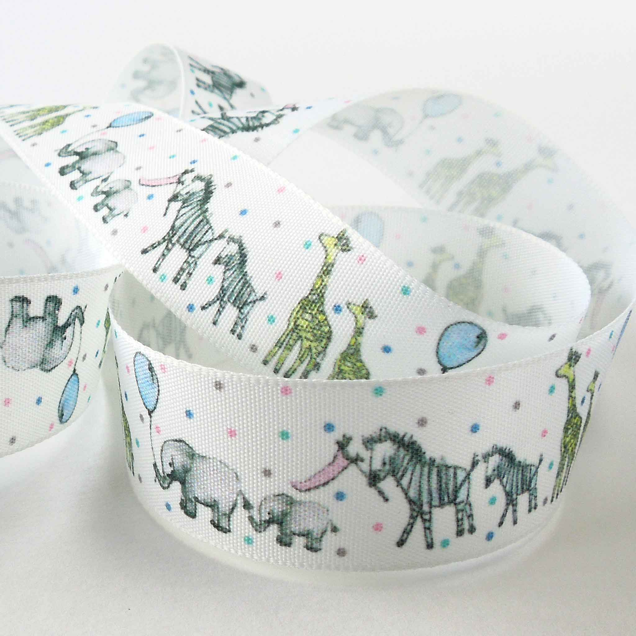 25 mm White Baby Animal Parade Ribbon, 1 inch Baby Animal Two by Two Fabric Ribbon - Fabric and Ribbon