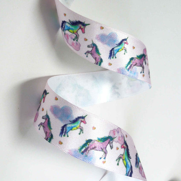 25 mm Pink Unicorn Dreams Satin Ribbon by Berisfords