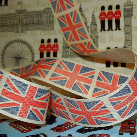 25 mm Union Jack Ribbon by Berisfords, 1 inch London Ribbon, Red, Blue and White Vintage Flag Ribbon