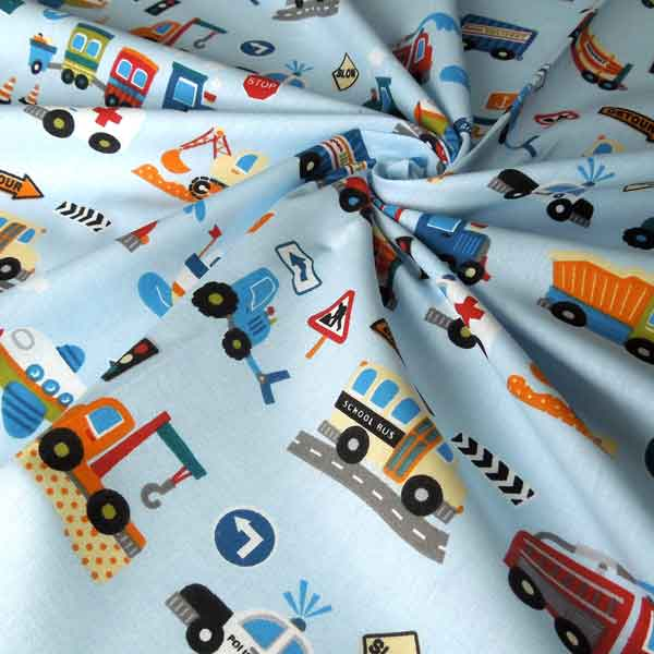 Blue Car, Trucks and Train Scatter Fabric. Kids Transport Cotton Fabric, Baby Blue Tractor and Police Car Scatter Fabric, Boys Car Fabric