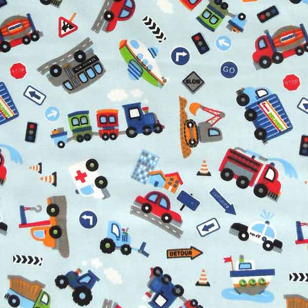Blue Car, Trucks and Train Scatter Fabric. Kids Transport Cotton Fabric, Baby Blue Tractor and Police Car Scatter Fabric, Boys Car Fabric - Fabric and Ribbon