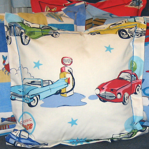 Boy's White Classic Cars Cushion, Children's Cushion Handmade in a White Retro Car Cotton