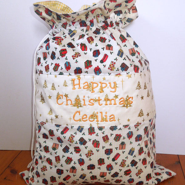 Christmas Toy Sack, Personalised or Non Personalised Xmas White Presents Toy Sack, Kid's Xmas White Presents Cotton Storage Bag - Fabric and Ribbon