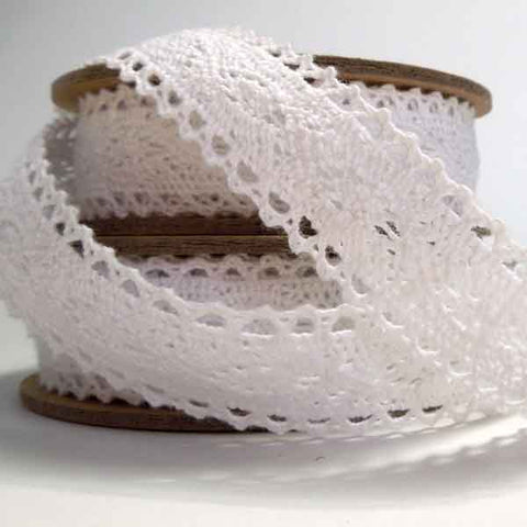 20 mm White Cotton Lace Ribbon, 3/4 inch White Patterned Lace Trim