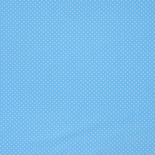 Mid Blue Small Polka Dot Cotton Fabric, White on Cornflower or Sky Blue Polka Dot Fabric
