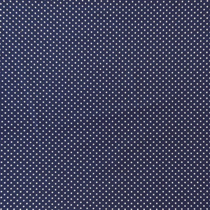 Dark Blue and White Small Polka Dot Cotton Fabric