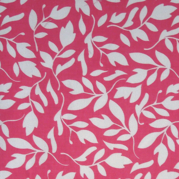 Pink Primrose Garden Fabric by Riley Blake, Pink Leaf Patterned Cotton Fabric by Riley Blake - Fabric and Ribbon
