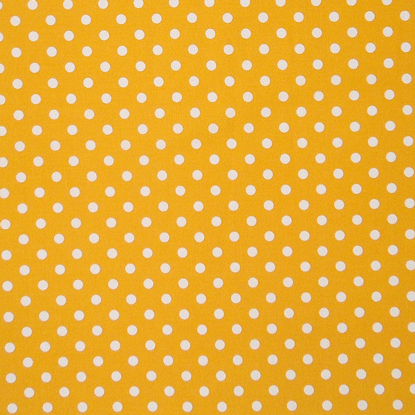 Gold Polka Dot Cotton Fabric, White on Yellow Polka Dot Fabric - Fabric and Ribbon