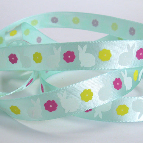 Easter Ribbon, 15 mm Easter Rabbit Satin Ribbon, 5/8 inch Child's Easter Bunnies and Flowers on Blue Satin Ribbon - Fabric and Ribbon