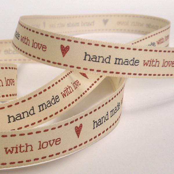 15 mm hand made with love Cream Ribbon, 5/8 inch Red and Black hand made with love and hearts Ribbon - Fabric and Ribbon