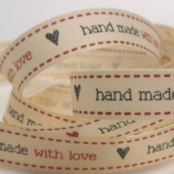15 mm hand made with love Cream Ribbon, 5/8 inch Red and Black hand made with love and hearts Ribbon