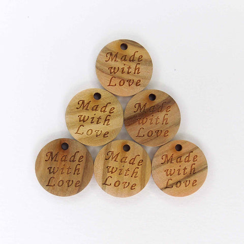 18 mm Made with Love Wooden Button Tag, Trimits 1 Hole Button