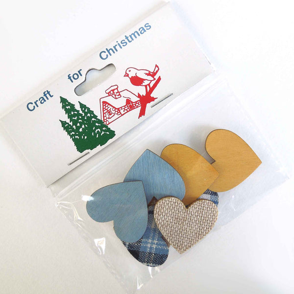 Xmas Wooden Hearts Stick On Card Making Pack