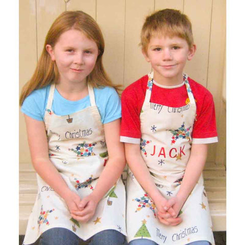 Older Child's Personalised Merry Christmas Cotton Apron, Handmade Xmas Apron, Ages 7 - 12 yrs - Fabric and Ribbon