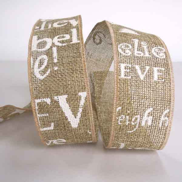 40 mm Christmas I Believe Ribbon, 1 and 1/2 inch White Xmas Writing Linen Style Ribbon - Fabric and Ribbon