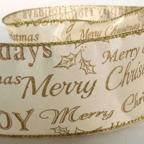 63 mm Happy Christmas Gold and Cream Glitter Ribbon, 2 and 3/8 inch Gold Joy and Happy Christmas on Cream Glitter Wired Decorative Ribbon