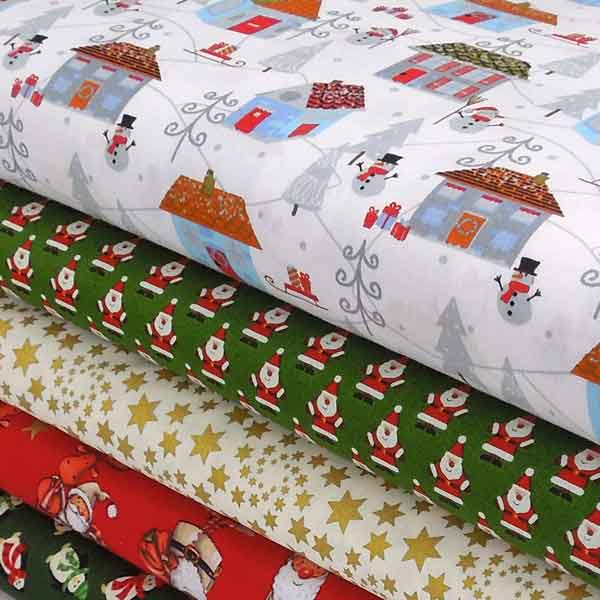 Christmas Winter Wonderland Fabric by Rose & Hubble, Xmas Silver Snowmen Fabric - Fabric and Ribbon