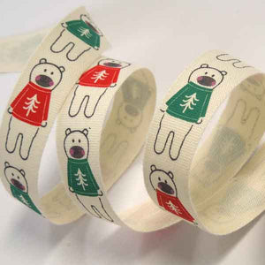 15 mm Polar Bears in a Jumper Christmas Cotton Ribbon, 5/8 inch Kid's Xmas Polar Bears Cream Cotton Tape - Fabric and Ribbon