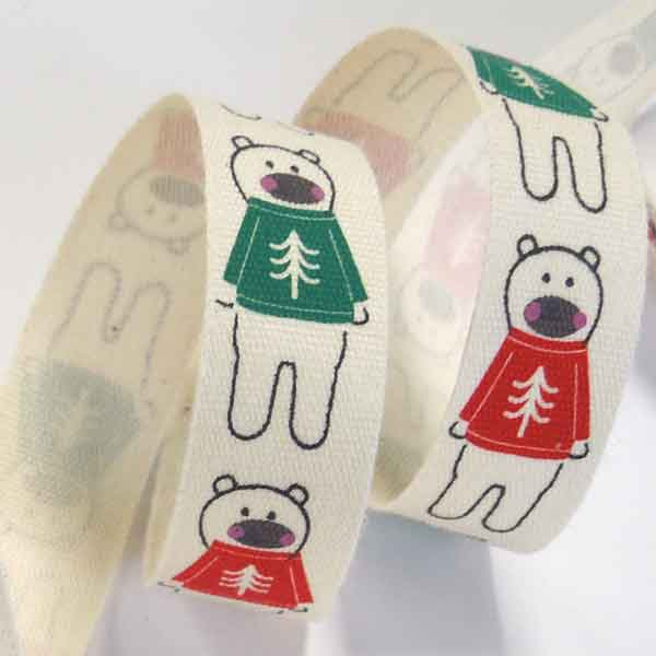 15 mm Polar Bears in a Jumper Christmas Cotton Ribbon, 5/8 inch Xmas Polar Bears in Red and Green Jumpers Cotton Tape, Kid's Xmas Ribbon