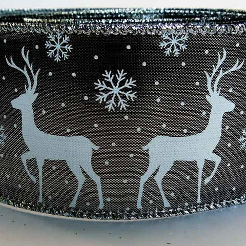 63 mm Christmas Silver Reindeer Glitter Ribbon, 2 and 3/8 inch White and Silver Glitter Snowflake and Reindeer Wired Decorative Ribbon