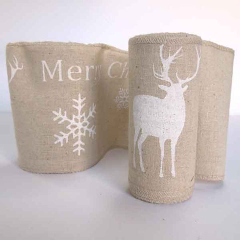 12 cm White Christmas Reindeer Linen Fabric Roll, 4 and 1/2 inch Merry Xmas Reindeer Natural Linen - Fabric and Ribbon