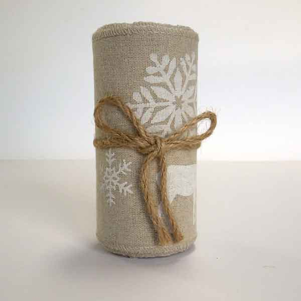 12 cm White Christmas Reindeer Linen Fabric Roll, 4 and 1/2 inch Merry Christmas Natural Linen Roll with White Reindeer and Snowflakes
