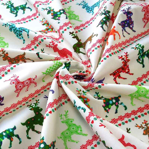 Christmas Reindeer in Rows Cotton Fabric, Kid's Xmas Multicoloured Reindeer Patterned Cotton Fabric, Christmas Coloured Reindeer Fabric
