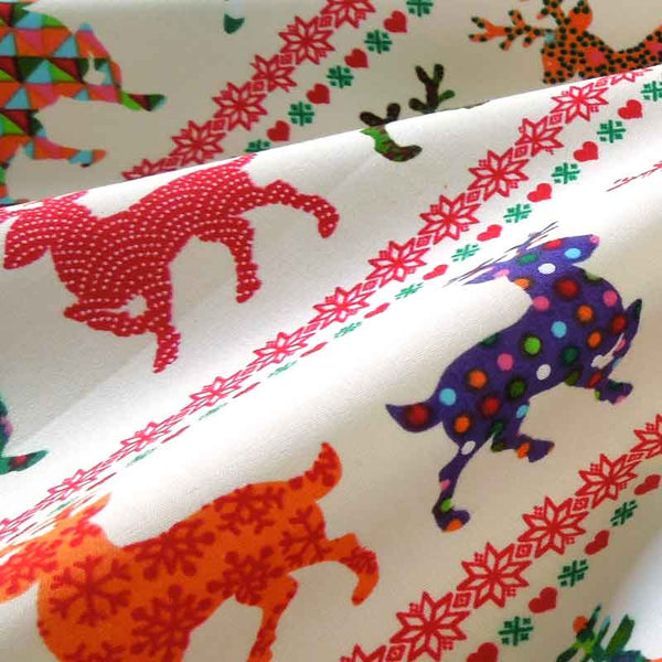Christmas Reindeer in Rows Cotton Fabric, Kid's Xmas Coloured Reindeer Cotton Fabric - Fabric and Ribbon