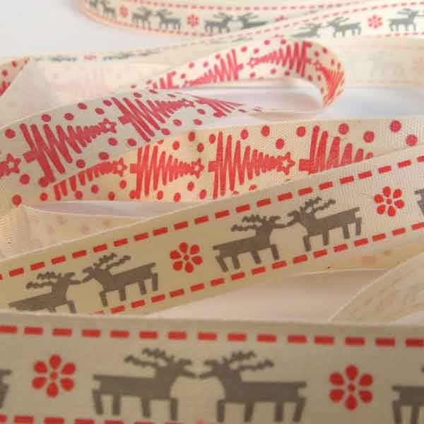 15 mm Nordic Christmas Red and Grey Reindeer Cotton Ribbon, Kid's Xmas Grey and Red Reindeer and Stars on Cream Cotton Tape