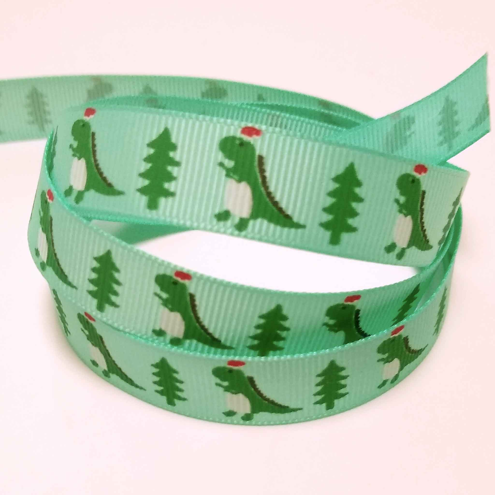 15 mm Christmas Dinosaur Grosgain Ribbon