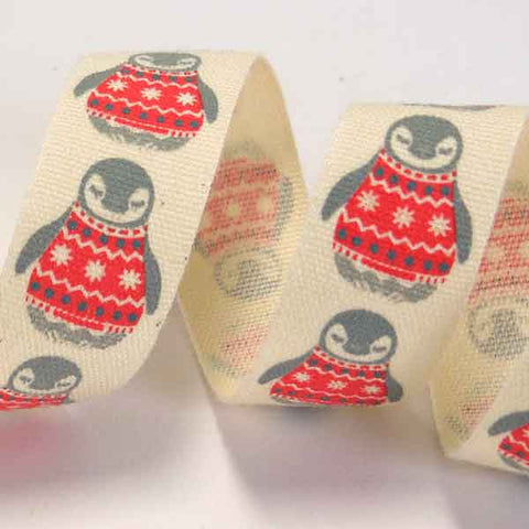 15 mm Penguins in a Jumper Christmas Cotton Ribbon, 5/8 inch Xmas Penguins in Red Jumpers Cotton Tape, Kid's Xmas Ribbon
