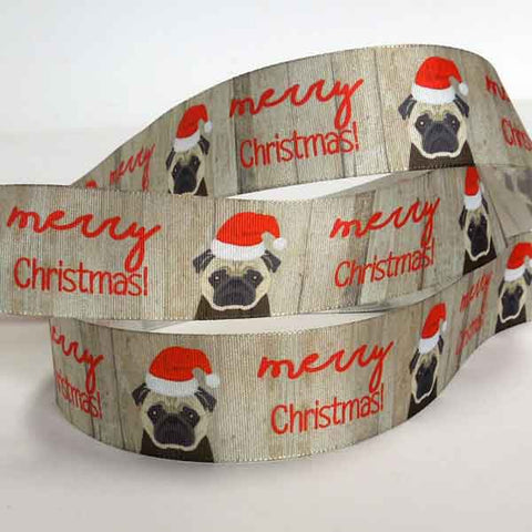 25 mm Merry Christmas Pug Ribbon by Berisfords, 1 inch Pug Dogs in Red Christmas Hats Ribbon, Merry Christmas Pug Dog Ribbon