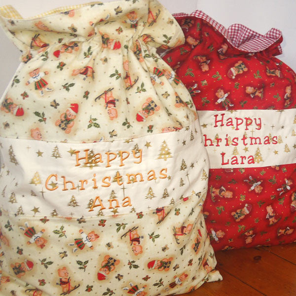 Christmas Toy Sack, Personalised or Non Personalised Xmas Cream Teddies Toy Sack, Kid's Xmas Cream Cotton Storage Bag - Fabric and Ribbon