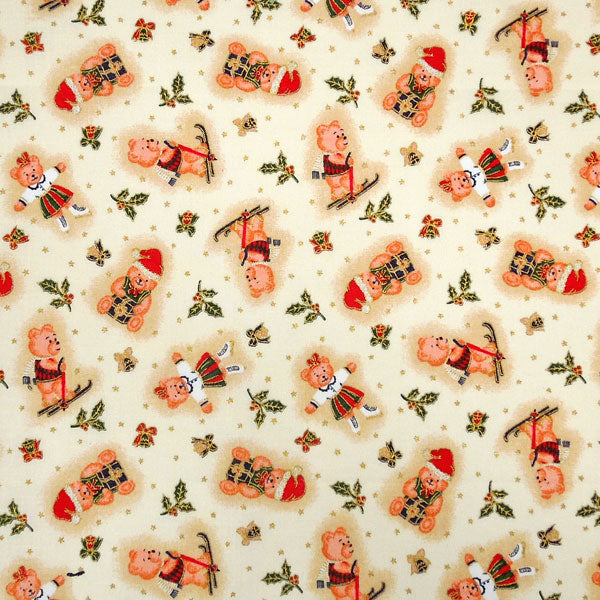 Kid's Skiing Cream Christmas Teddies Cotton Fabric