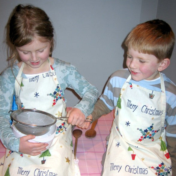 Personalised Christmas Apron, Younger Child's Festive Merry Christmas Apron, Children's Personalised Cotton Apron, Ages 2 - 6 yrs