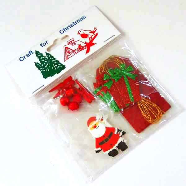 Red Father Christmas Card Making Embellishment Pack, Kid's Xmas Santa Card, Scrapbook and Gift Wrap Pack - Fabric and Ribbon