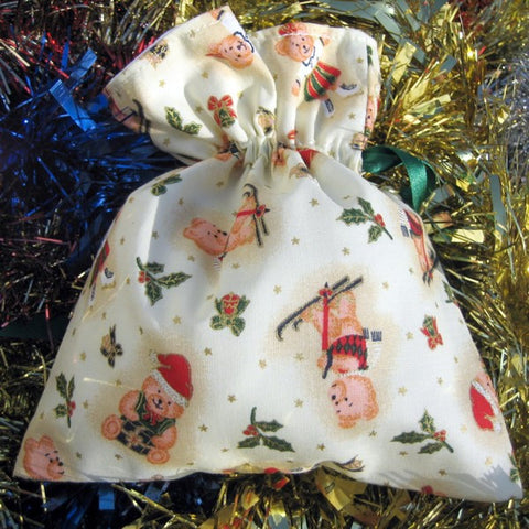 Christmas Small Drawstring Bags Handmade Xmas Cotton Lined Gift Bags - Fabric and Ribbon